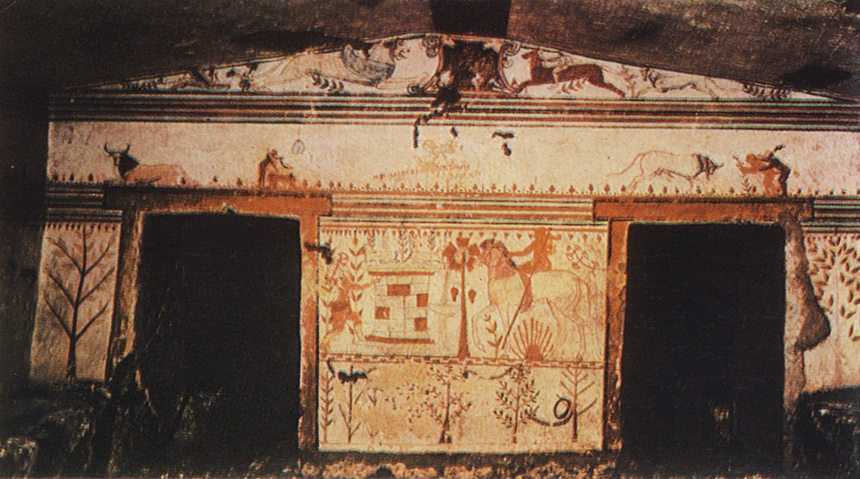 Wall-painting of the Bulls Tomb in Tarquinia. 6th century BCE. Tarquinia, Tomb of the Bulls