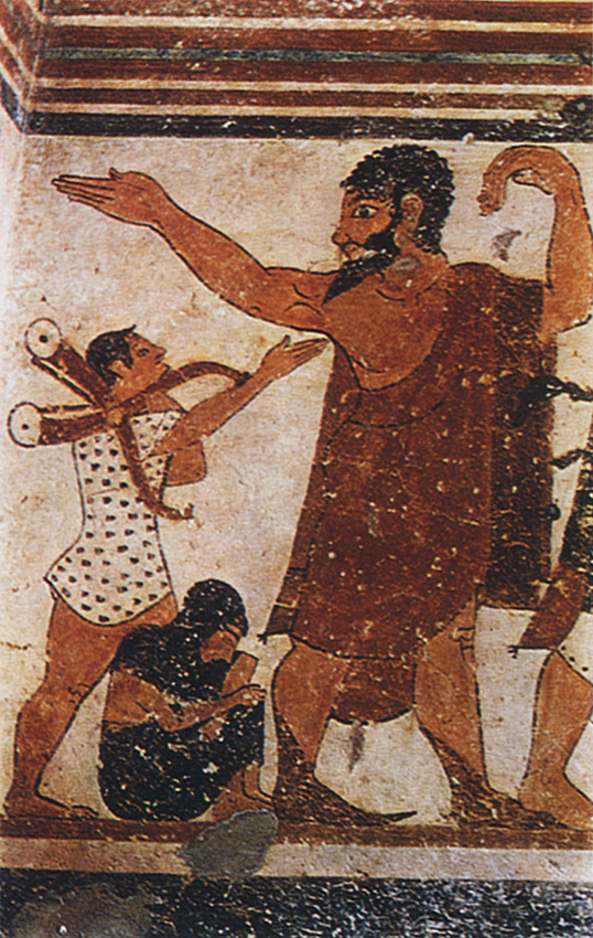 Wall-painting of the Augurs Tomb in Tarquinia. Detail. 6th century BCE. Tarquinia, Tomb of the Augurs
