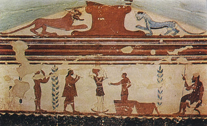 Wall-painting of the Jugglers Tomb in Tarquinia. 6th century BCE. Tarquinia, Tomb of the Jugglers