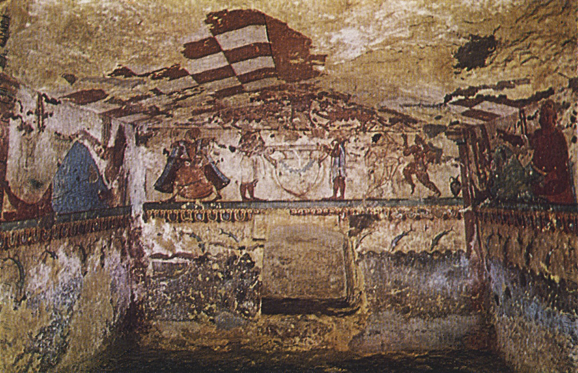 Wall-painting of the Lionesses Tomb in Tarquinia. 6th century BCE. Tarquinia, Tomb of the Lionesses