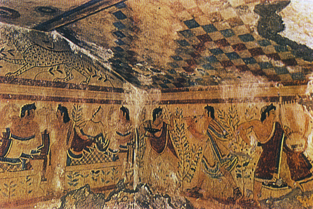 Wall-painting of the Leopards Tomb in Tarquinia. 5th century BCE. Tarquinia, Tomb of the Leopards