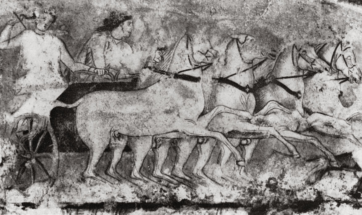 Battle of Greeks and Amazons. Detail of the wall-painting of sarcophagus. 4th century BCE. Florence, National Archaeological Museum