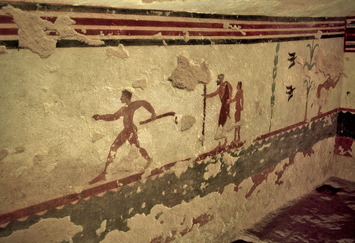 Wall-painting of the Jugglers Tomb in Tarquinia. Ca. 510 BCE. Tarquinia, Tomb of the Jugglers