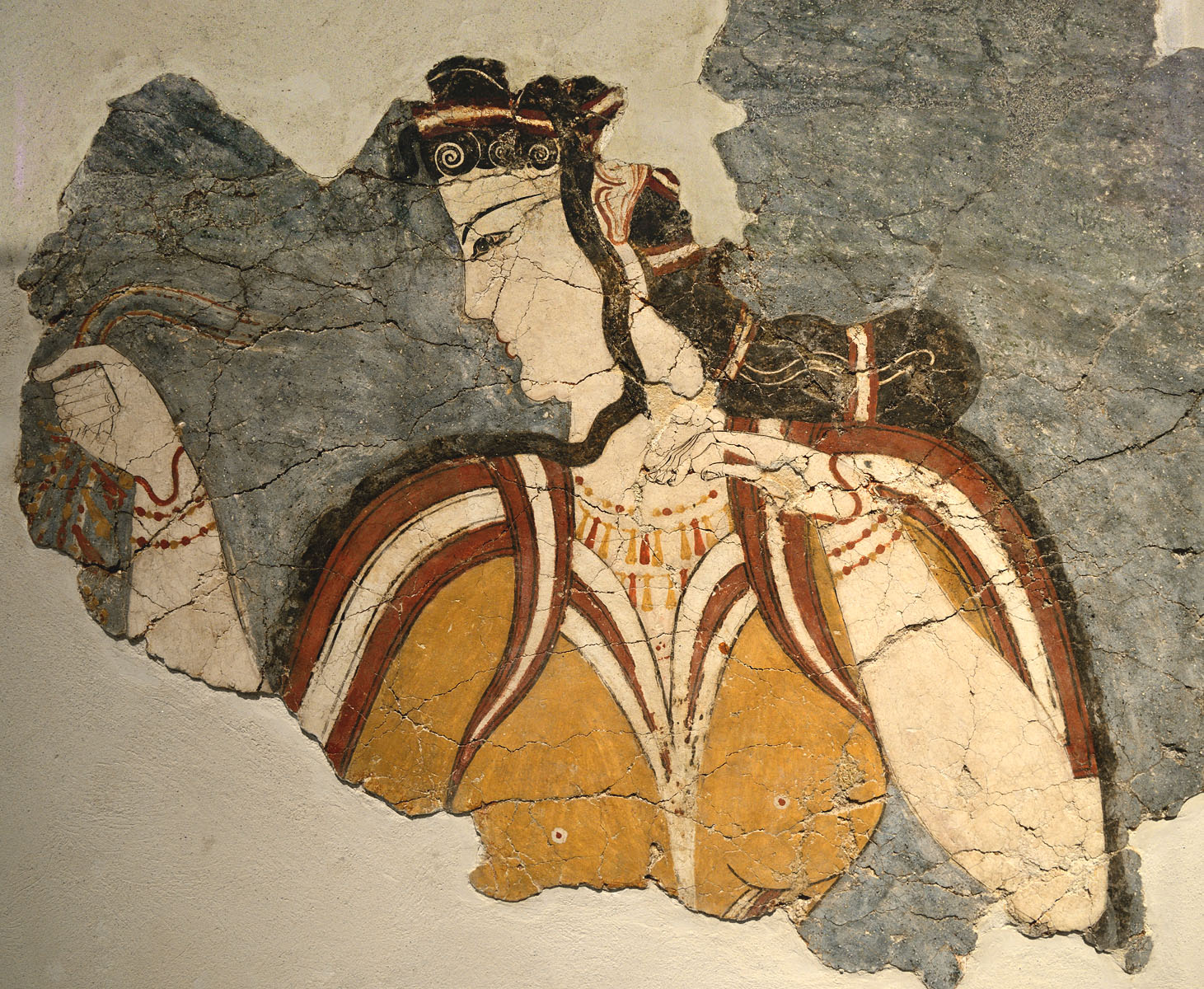"The ""Mycenaean Lady"" (fresco). Part of a wall-painting from the ""Chief Priest's House"" in the cult centre of the citadel of Mycenae. 13th cent. BCE. Inv. No. 11670. Athens, National Archaeological Museum"