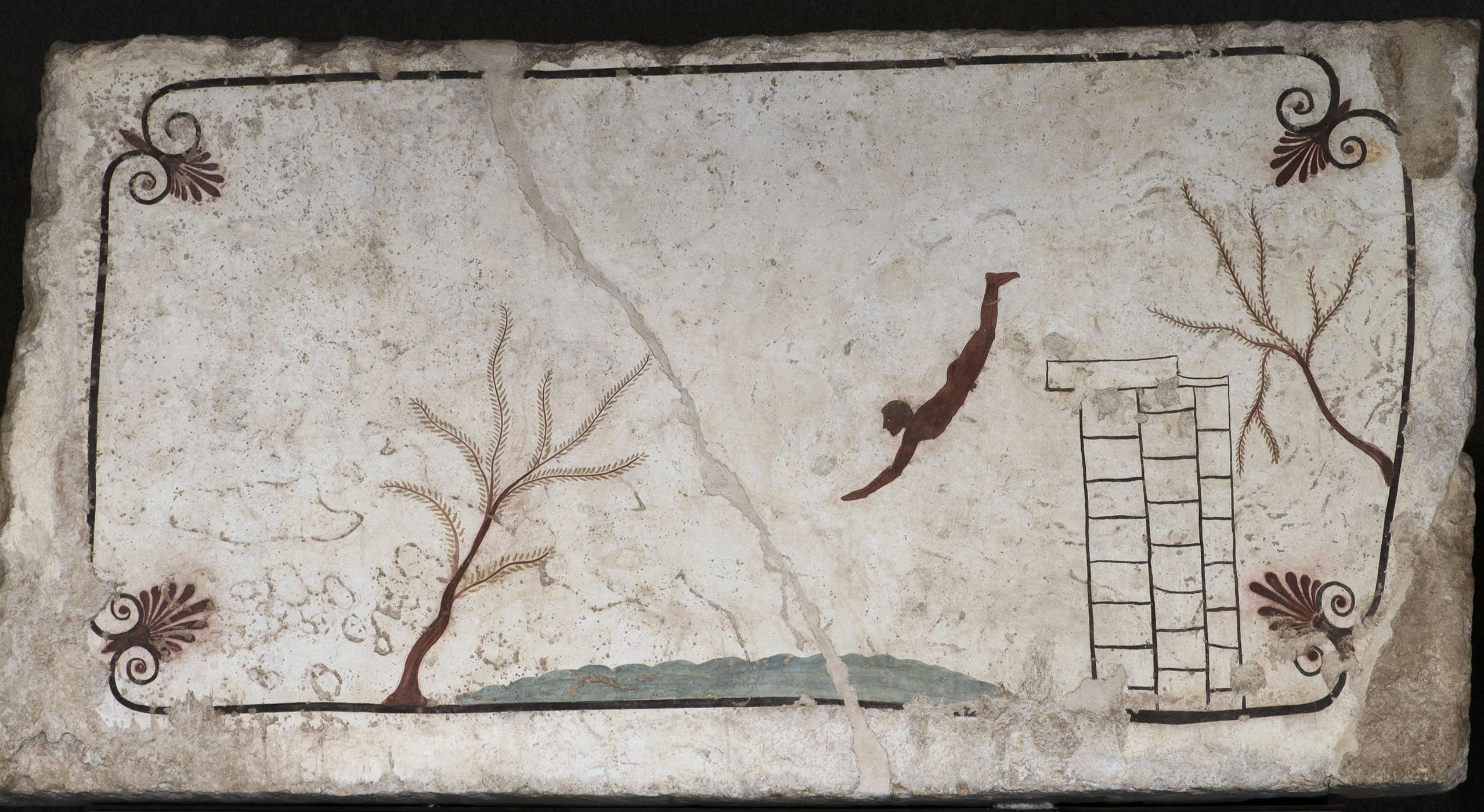 Diver. The inside wall of the lid of sarcophagus from Tomb of the Diver. Fresco. Ca. 480 BCE. Paestum, National Archaeological Museum