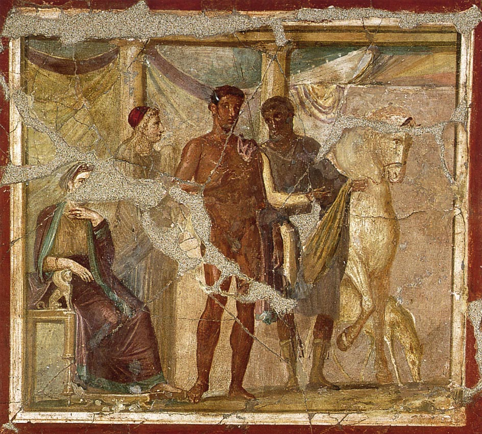 Hippolytus and Phaedra. Fresco from Pompeii.  Inv. No. 20620. Naples, National Archaeological Museum