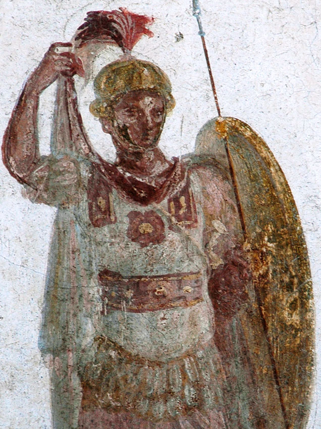 Warrior. Fragment. Fresco from the House of the Trojan Sacellum. Second style. Ca. 80—20 BCE. Pompeii, The House of the Trojan Sacellum, I, 6, 4