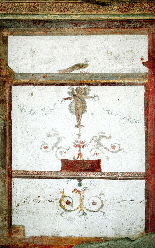 Eros and peacock. Fresco from the House of the Trojan Sacellum. Second style. Ca. 80—20 BCE. Pompeii, The House of the Trojan Sacellum, I, 6, 4