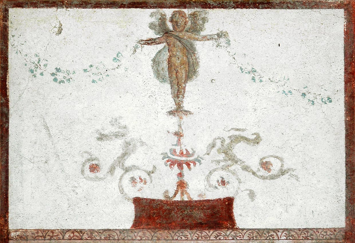 Eros with garlands. Fresco from the House of the Trojan Sacellum. Second style. Ca. 80—20 BCE. Pompeii, The House of the Trojan Sacellum, I, 6, 4