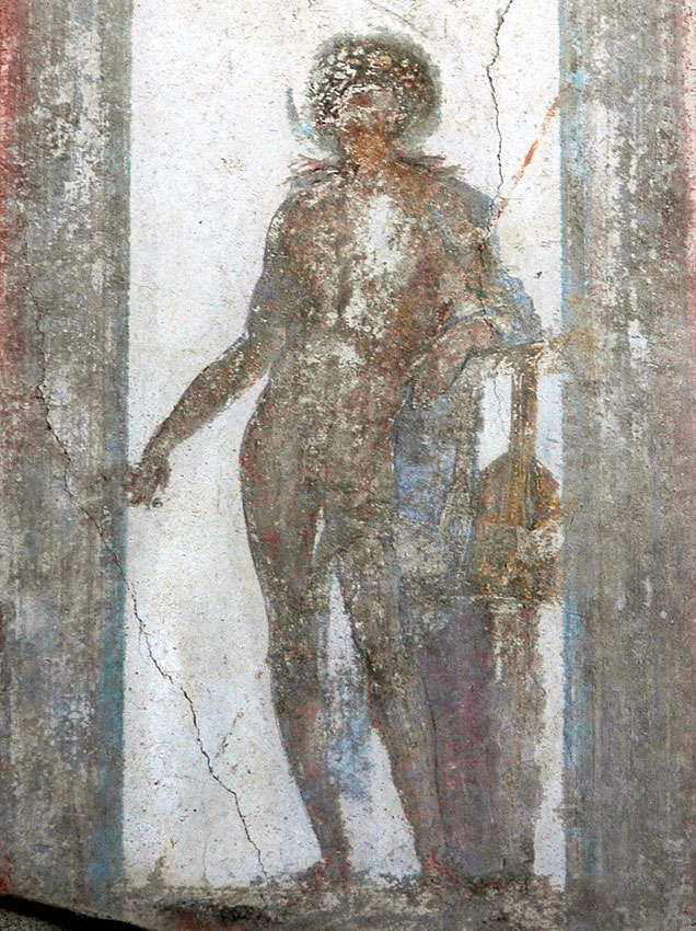 Dionysos (?) Fresco from the House of the Trojan Sacellum. Second style. Ca. 80—20 BCE. Pompeii, The House of the Trojan Sacellum, I, 6, 4