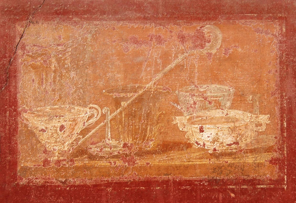 Table with a service. Fresco from the House of the Trojan Sacellum. Second style. Ca. 80—20 BCE. Pompeii, The House of the Trojan Sacellum, I, 6, 4