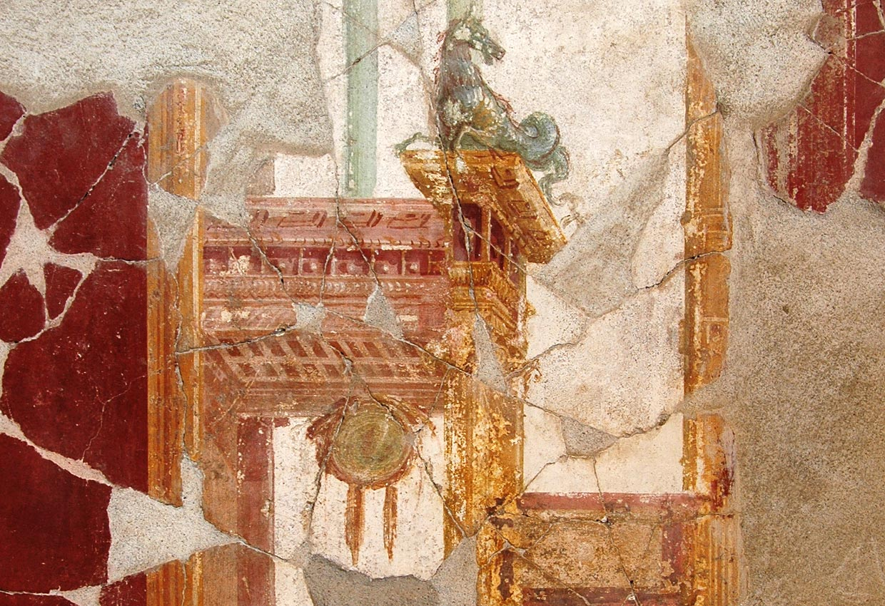 Architectural decoration with a hippocampus. Fresco from the House of the Trojan Sacellum. Second style. Ca. 80—20 BCE. Pompeii, The House of the Trojan Sacellum, I, 6, 4