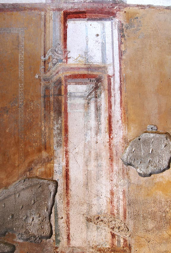 Architectural decoration with a griffin. Fresco from the House of the Trojan Sacellum. Second style. Ca. 80—20 BCE. Pompeii, The House of the Trojan Sacellum, I, 6, 4