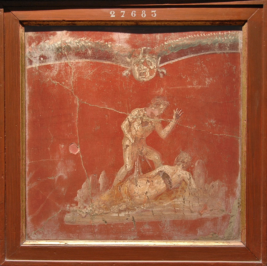 Vignette on red background with satyr and nymph. Fresco from Pompeii. 50—79 CE. Inv. No. 27685 (erroneous Inv. No. on the frame). Naples, National Archaeological Museum