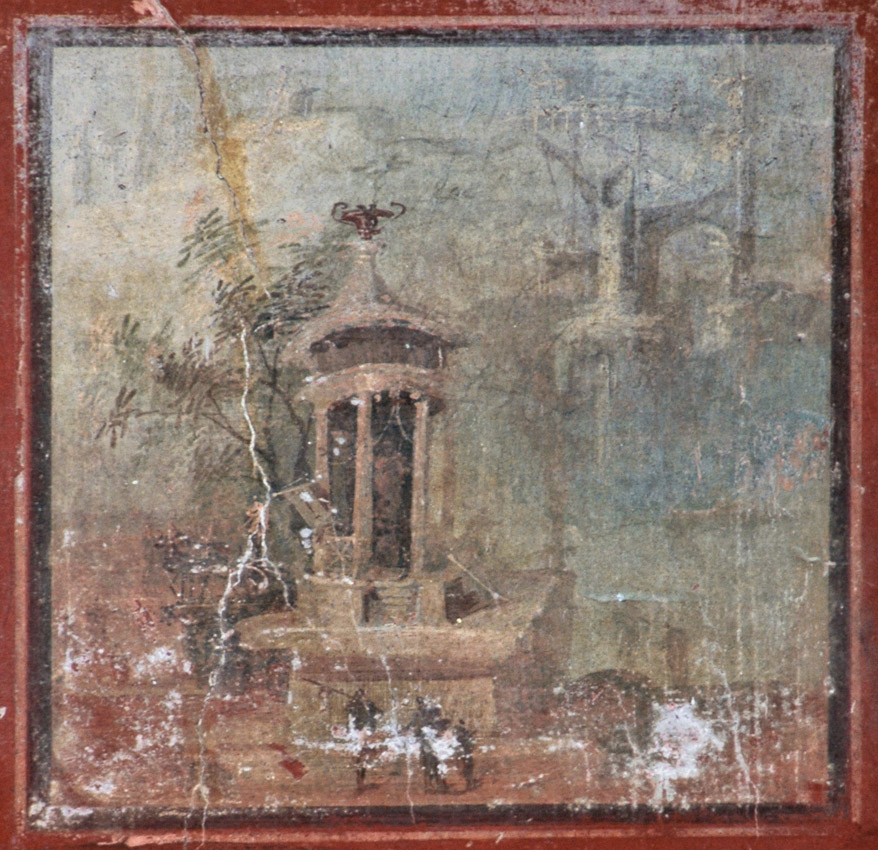 The landscape with sanctuary. Fourth style. 50—79 CE. Herculaneum, The House of Argus (II, 2)