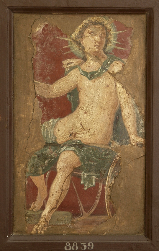 The male deity of light sitting on chariot, in radiate crown and with sceptre. Fresco from Stabiae (Villa of Ariadne, W28). Inv. No. 8839. Naples, National Archaeological Museum