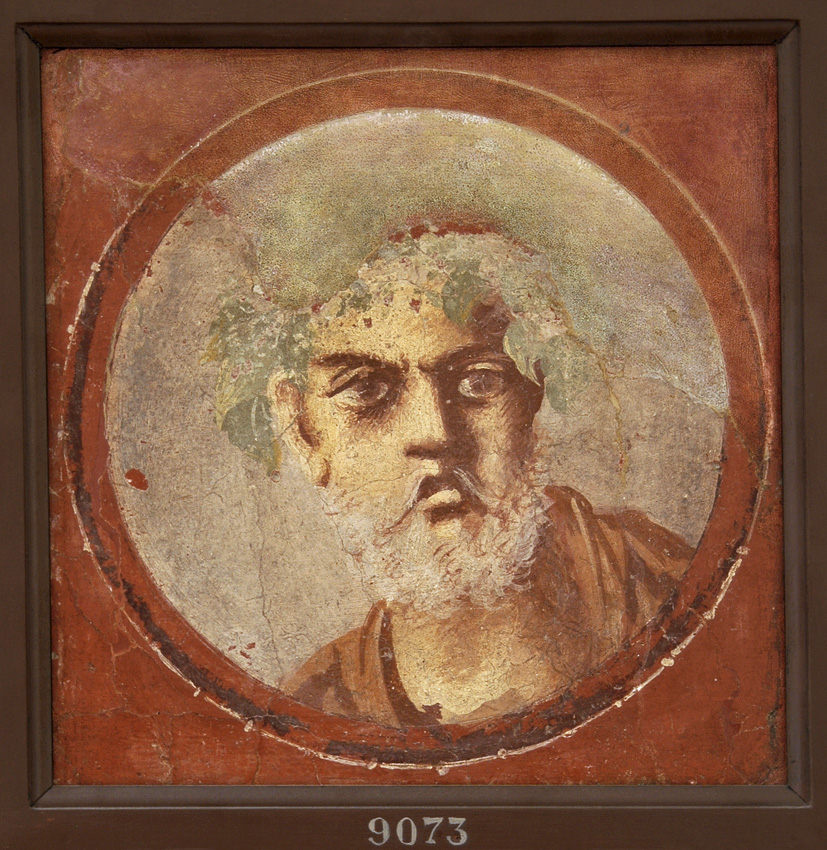 Medallion depicting the bust of bearded man. Fresco from the House of Citharoedus in Pompeii (House of Popidius Secundus, I, 4, 5—25, distyle exedra 18). Fourth style. 50—79 CE.  Inv. No. 9073. Naples, National Archaeological Museum