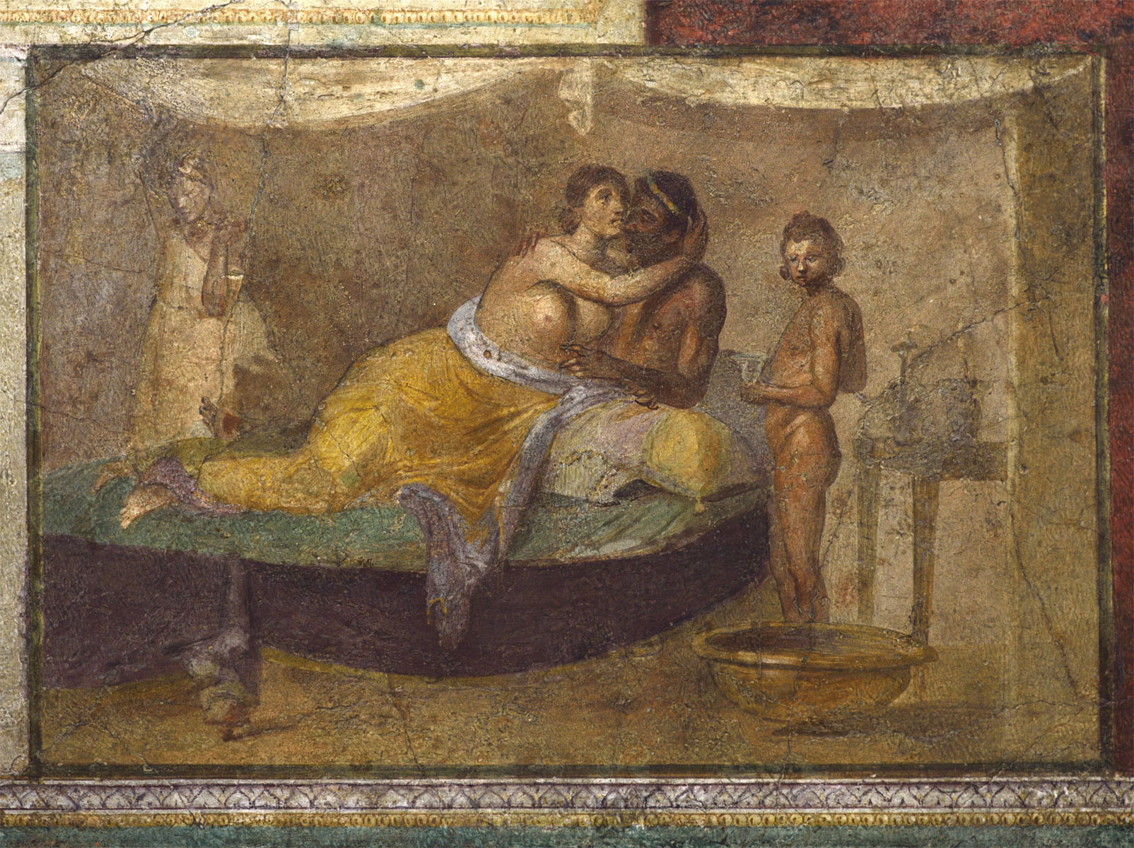 Erotic scene. Fresco from the cubiculum B of the Villa Farnesina. 1st century BCE — 1st century CE. Rome, Roman National Museum, Palazzo Massimo alle Terme