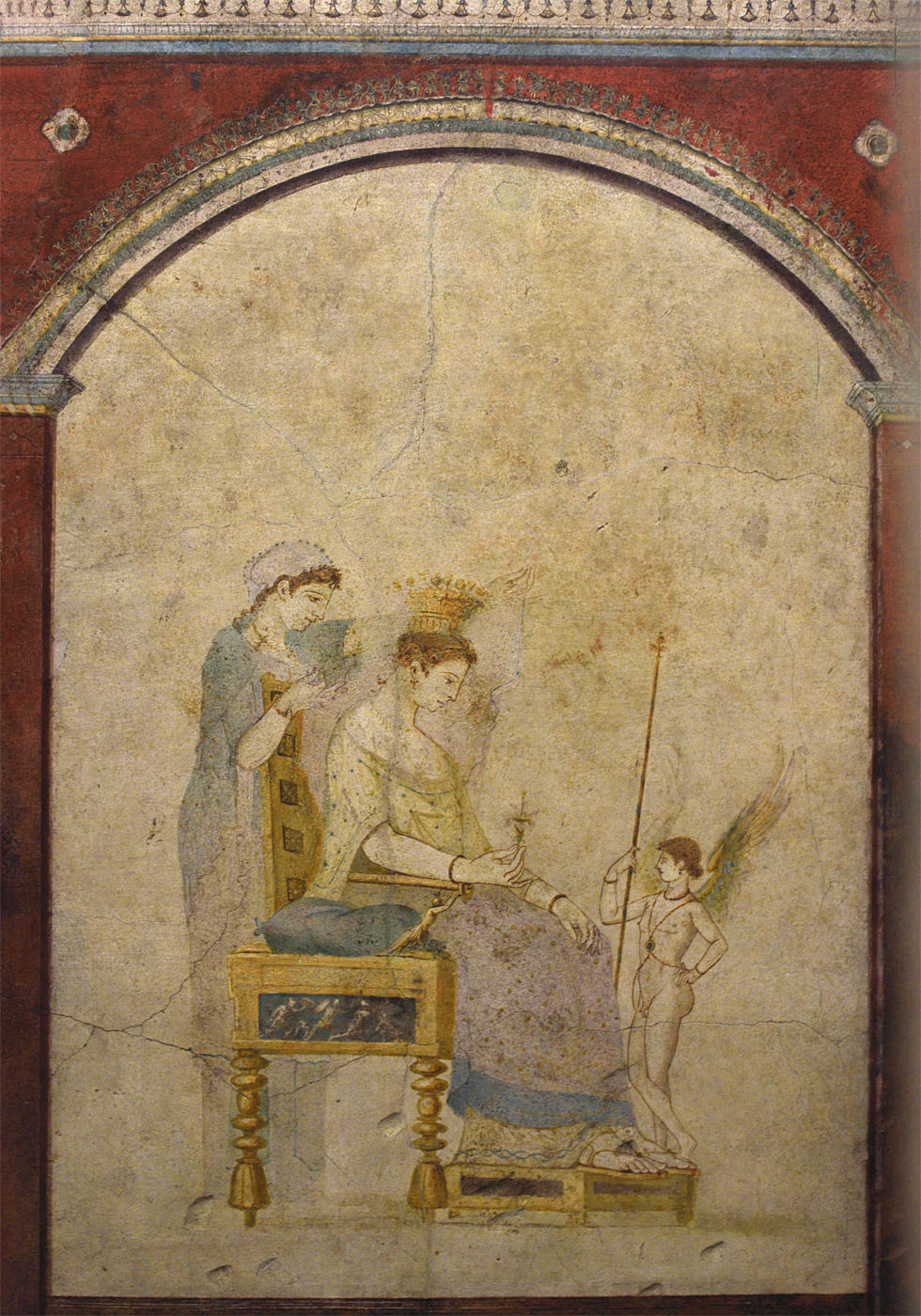 The toilette of Aphrodite. Fresco from the cubiculum B of the Villa Farnesina. 1st century BCE — 1st century CE. Rome, Roman National Museum, Palazzo Massimo alle Terme