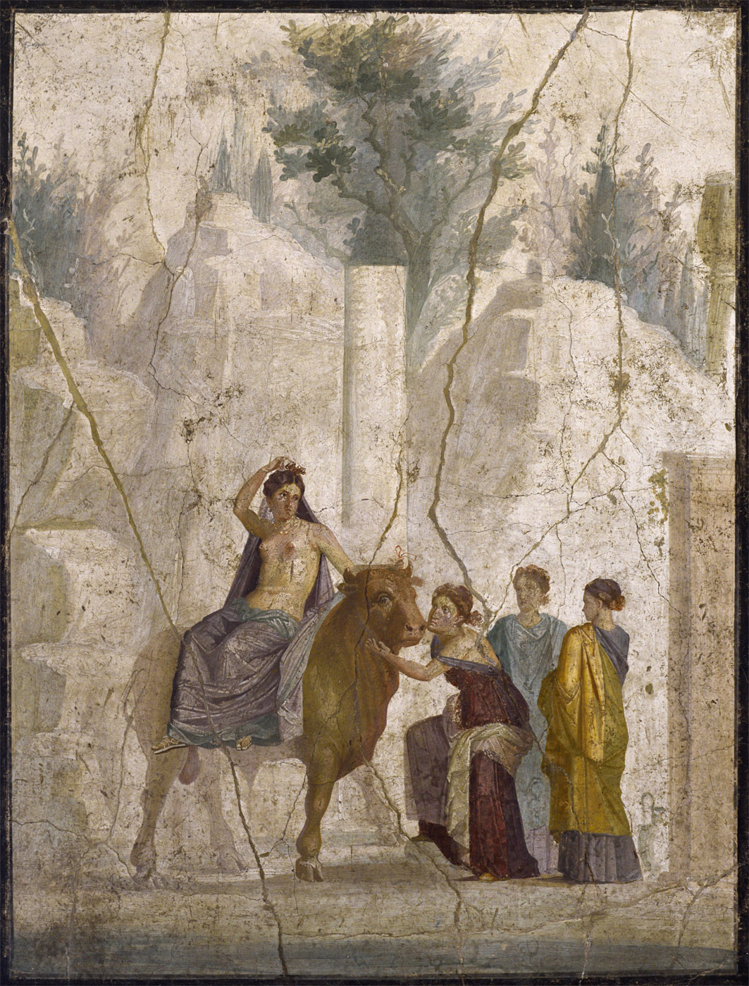 Europa riding the bull. Fresco from Pompeii (House of Fatal Love, IX, 5, 18). 1st century CE. Inv. No. 111475. Naples, National Archaeological Museum