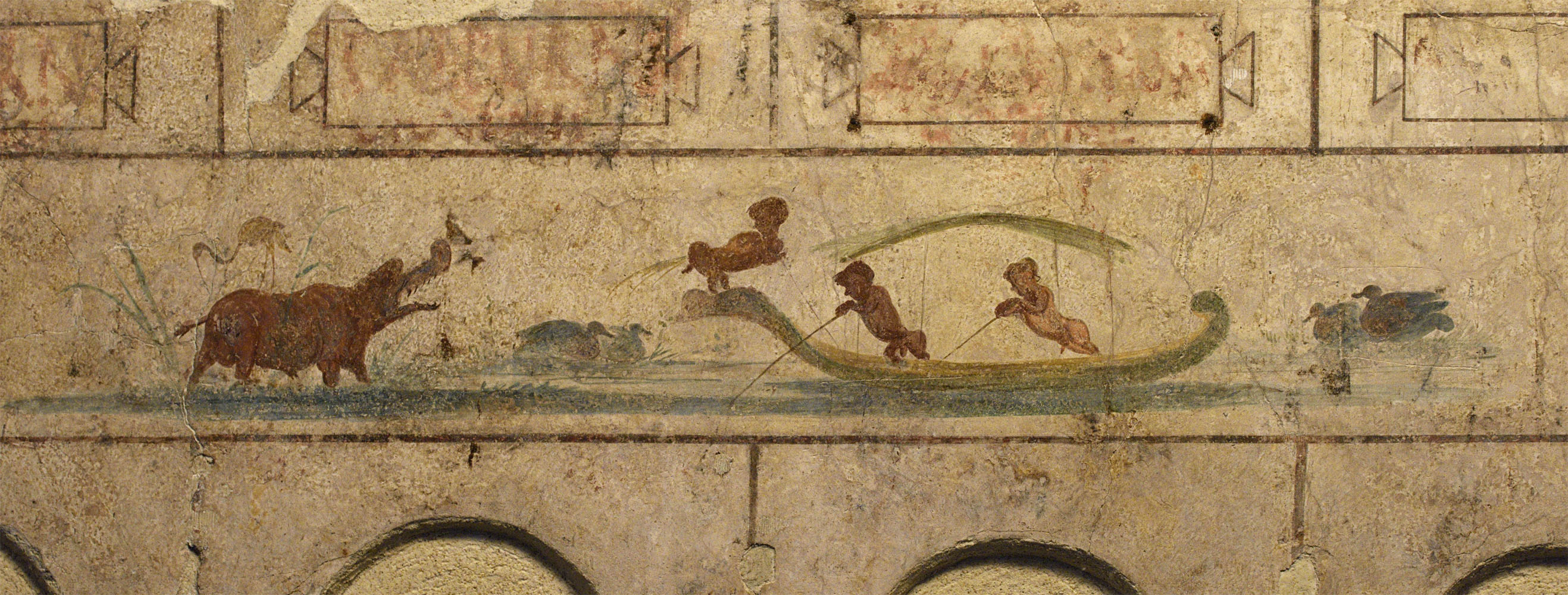 Painted frieze (close-up). The Grand columbarium of the Villa Doria Pamphilj in Rome. End of th 1st cent. BCE — end of the 1st cent. CE. Rome, Roman National Museum, Palazzo Massimo alle Terme