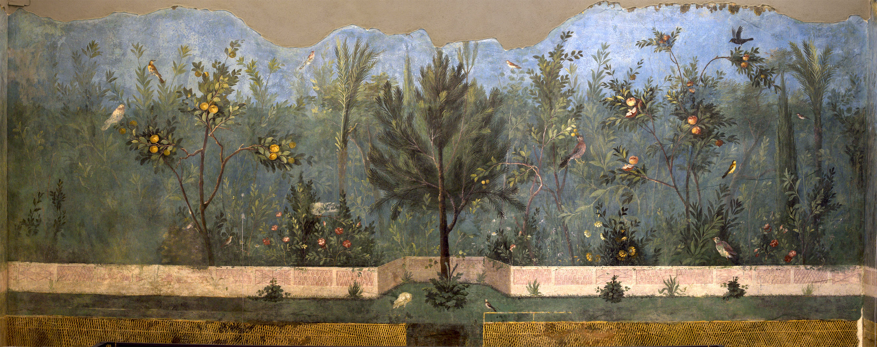 Wall fresco painting. From the subterranean hall of the Villa of Livia at Prima Porta. 40—20 BCE. Rome, Roman National Museum, Palazzo Massimo alle Terme