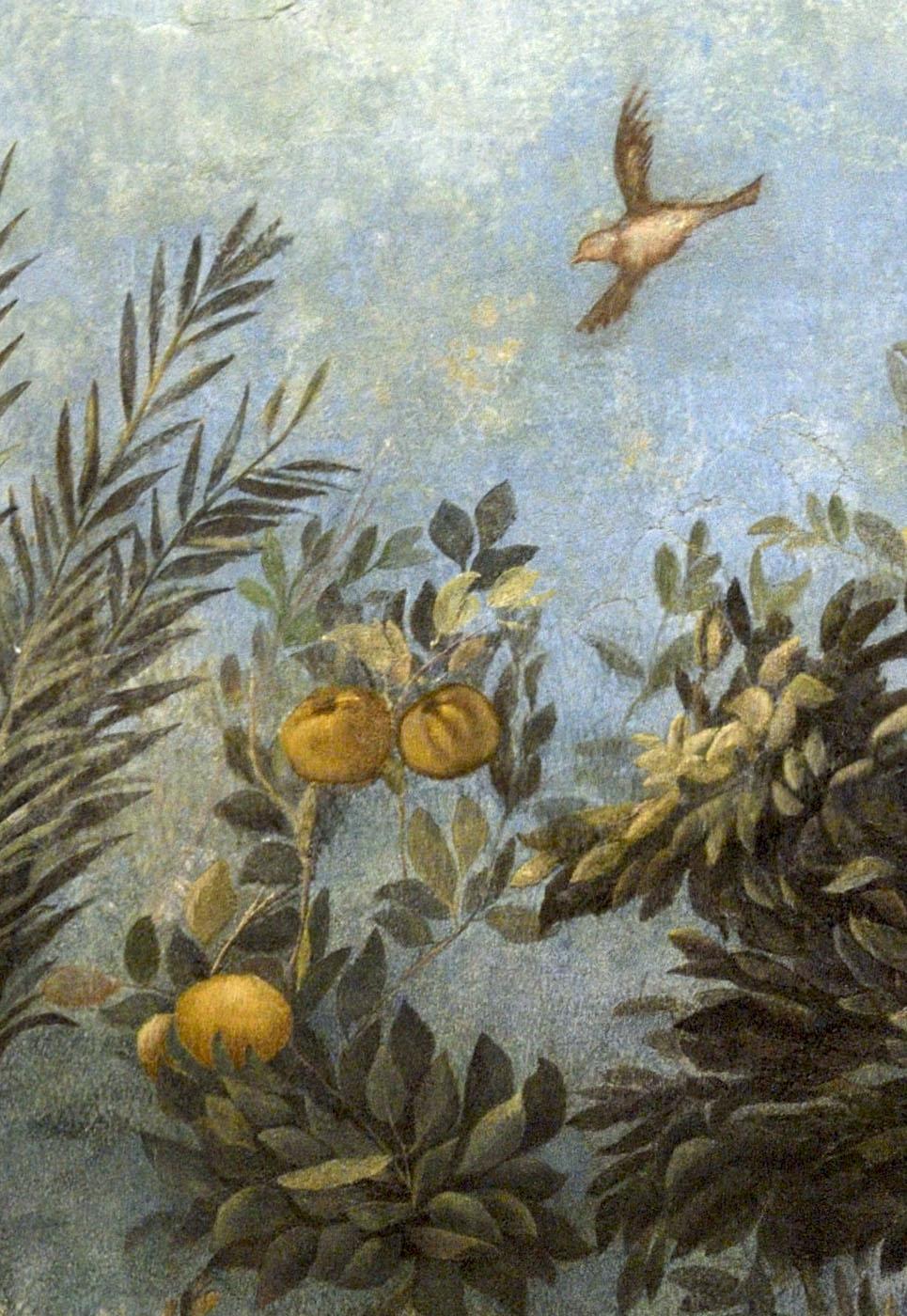 Wall fresco painting (close-up). From the subterranean hall of the Villa of Livia at Prima Porta. 40—20 BCE. Rome, Roman National Museum, Palazzo Massimo alle Terme