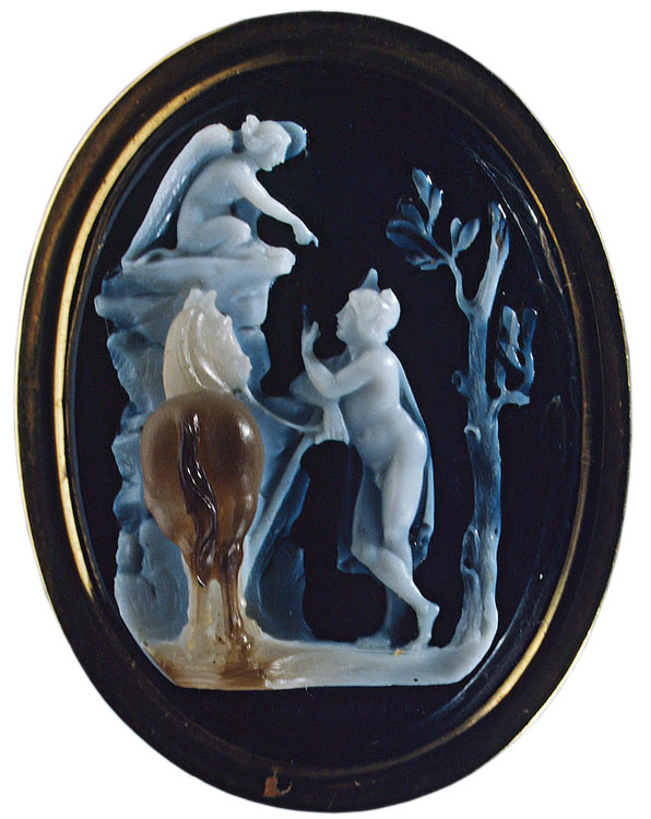 Oedipus and Sphinx. Niccolo Amastini (1780—1851). Italy. Early 19th century. Cameo. Three-layered sardonyx, gold. 3.5 × 2.6 cm. Below, under the line of the ground, the signature: N.T. MASTINI F. Inv. No. К 1774. Saint Petersburg, The State Hermitage Museum