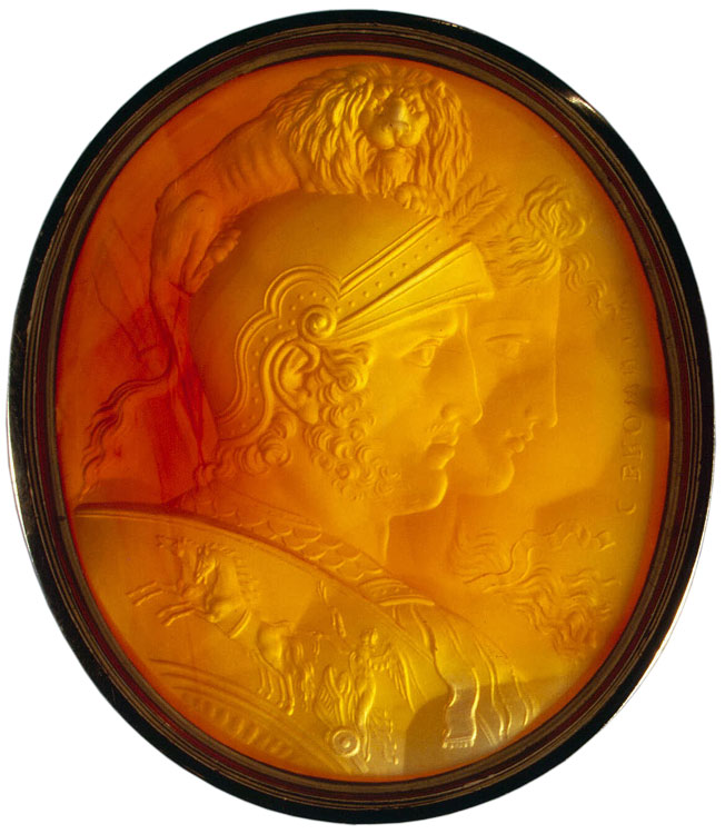 Mars and Bellona. Charles Brown (1749—1795). Great Britain. Ca. 1784. Intaglio. Light red cornelian, gold. 4 × 3.5 cm. Inv. No. И 3946. On the right the signature: C. BROWN INVT Saint Petersburg, The State Hermitage Museum