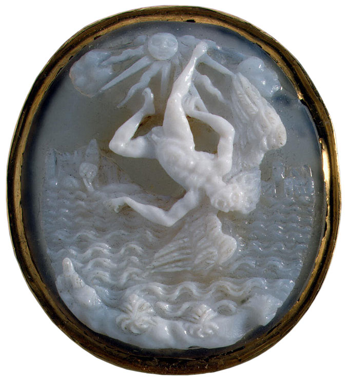 The Fall of Icarus. Italy. Late 16th — early 17th century. Cameo. Agate—onyx, gold.  Inv. No. К 2189. Saint Petersburg, The State Hermitage Museum