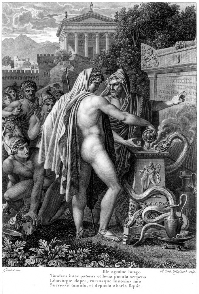 The apparition of a snake during Aeneas' sacrifice at the tomb of Anchises. Engraving by Jean Baptiste Raphael Urbain Massard (1775—1843), 1798.