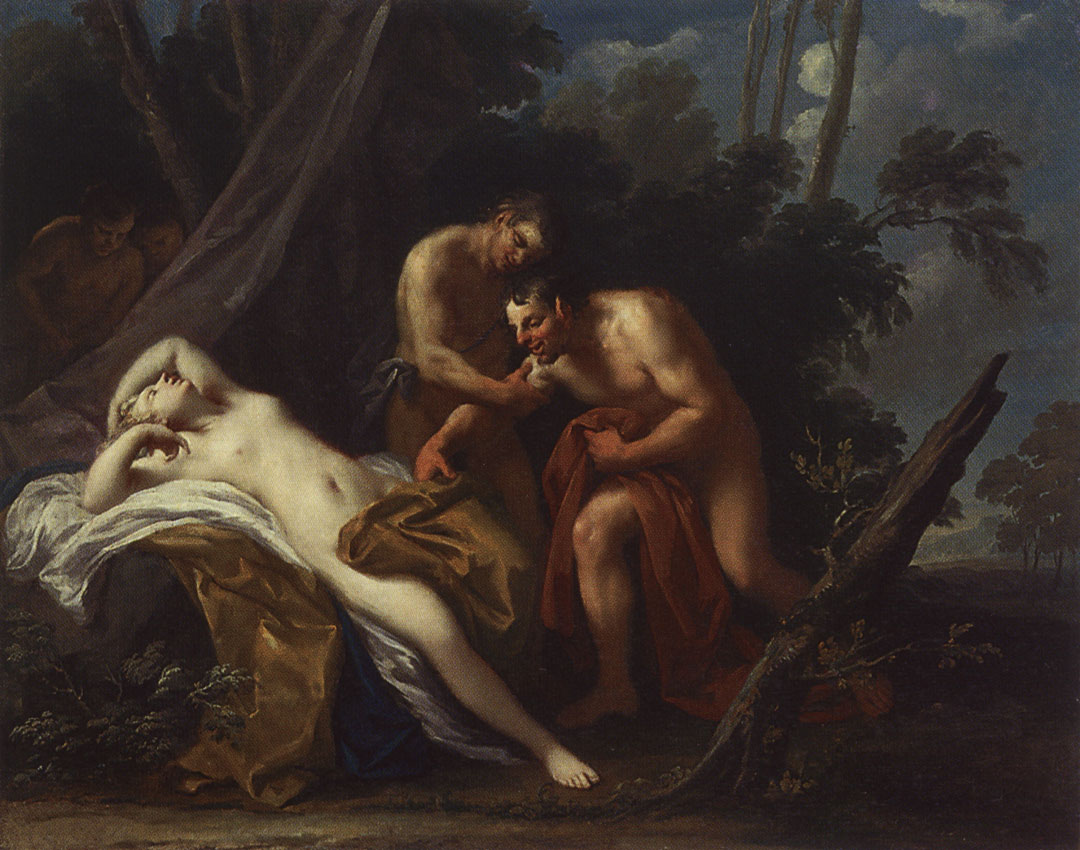 Satyr and asleep nymph. Jacopo Amigoni (1682—1752). Oil on canvas. 1730s. 100 × 125 cm. Inv. No. ГЭ 10369. Saint Petersburg, The State Hermitage Museum