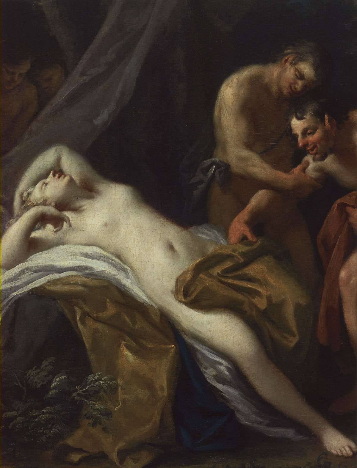 Satyr and asleep nymph. Fragment Jacopo Amigoni (1682—1752). Oil on canvas. 1730s. 100 × 125 cm. Inv. No. ГЭ 10369. Saint Petersburg, The State Hermitage Museum