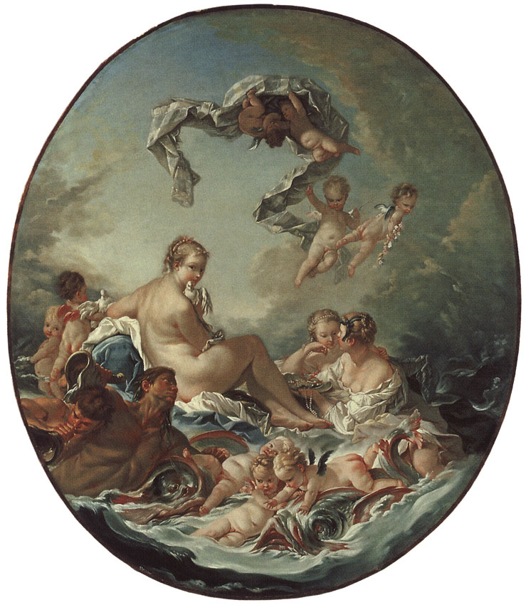Triumph of Venus. François Boucher (Circle) (1703—1770). Oil on canvas. 103 × 87 cm (oval). Inv. No. ГЭ 7656. Saint Petersburg, The State Hermitage Museum