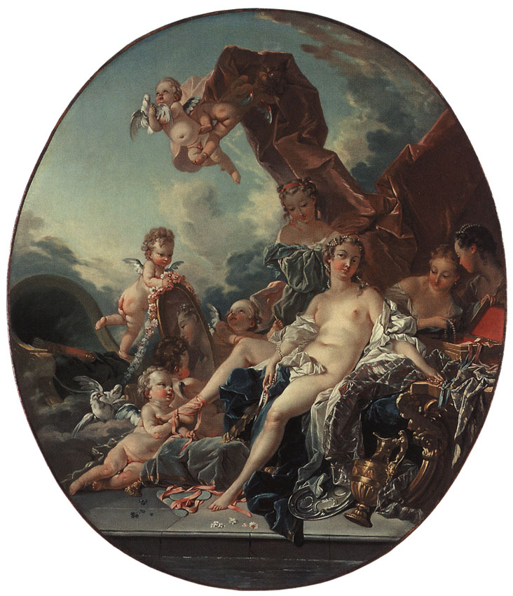 Toilet of Venus. By François Boucher (Circle) (1703—1770). Oil on canvas. 101 × 86.5 cm (oval). Inv. No. ГЭ 7655. Saint Petersburg, The State Hermitage Museum