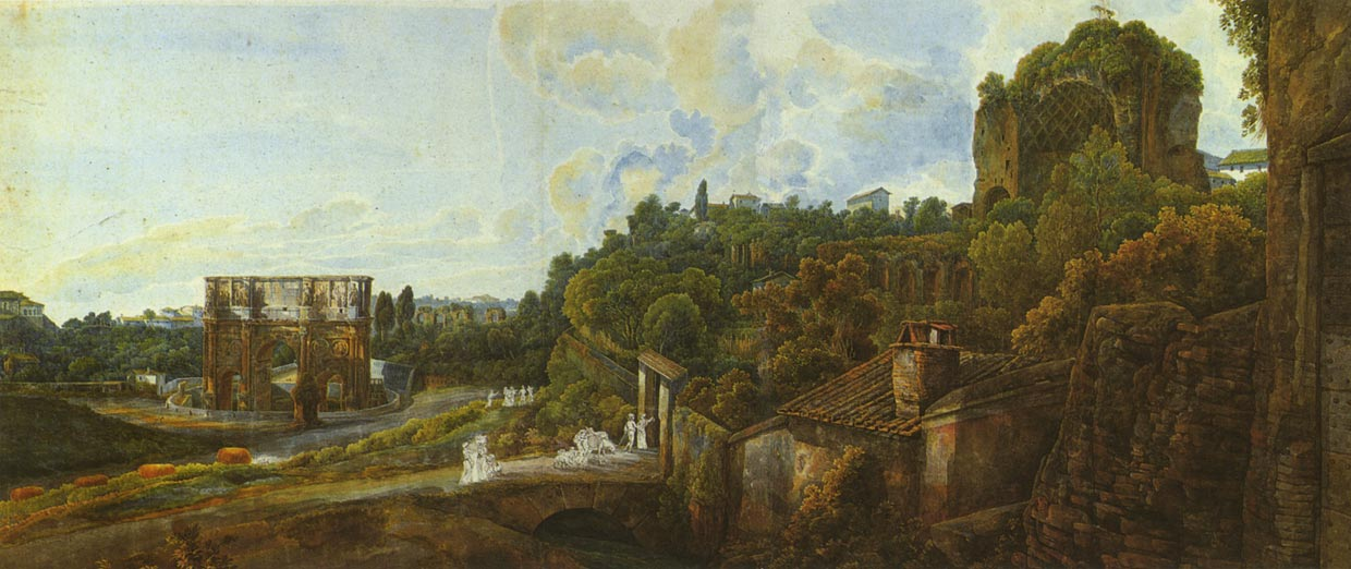 View of the Palatine hill with the arch of Constantine. Painter A. R. L. Ducros (1748—1810).