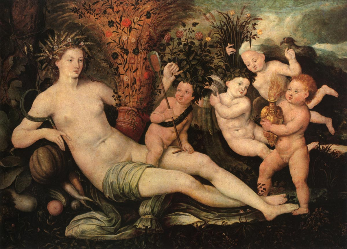 Allegory. Dutch painter active in the 16th century. Oil on canvas. 70 × 102.5 cm. Moscow, The Tolstaya Collection