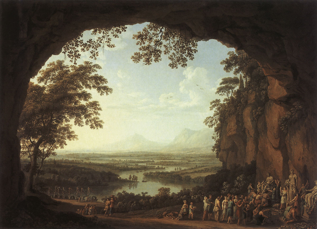 Landscape with the scene of an ancient festival. Jacob Philipp Hackert (1737—1807). Oil on canvas. 66 × 89.5 cm. At the left below inscription, signature and date:.. de Daphnis.. Gessner Ph. Hackert Rome 1781 Inv. No. ГЭ 5329. Saint Petersburg, The State Hermitage Museum