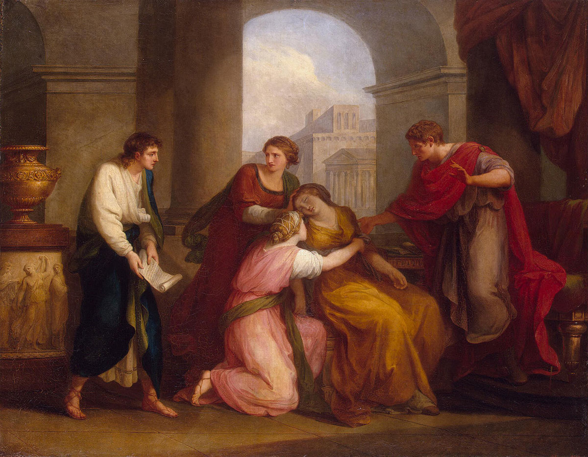 "Vergilius is reading ""Aeneid"" to Octavia and August. Angelica Kauffmann (1741—1807). Oil on canvas. 123 × 159 cm. At the left below signature and date: Angelica Kauffmann pinx. Rome 1788 Inv. No. ГЭ 4172. Saint Petersburg, The State Hermitage Museum"