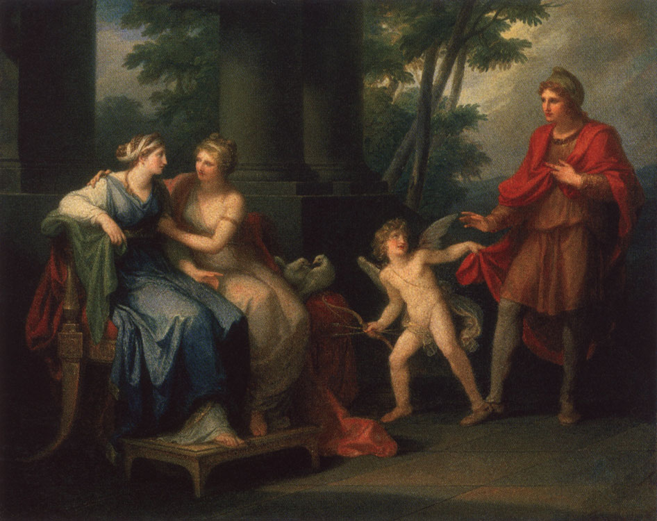Venus is persuading Helen to love Paris. Angelica Kauffmann (1741—1807). Oil on canvas. 102 × 127.5 cm. In the centre, on the plinth of a column, signature and date — Angelica Kauffmann pinx. 1790 Inv. No. ГЭ 5350. Saint Petersburg, The State Hermitage Museum