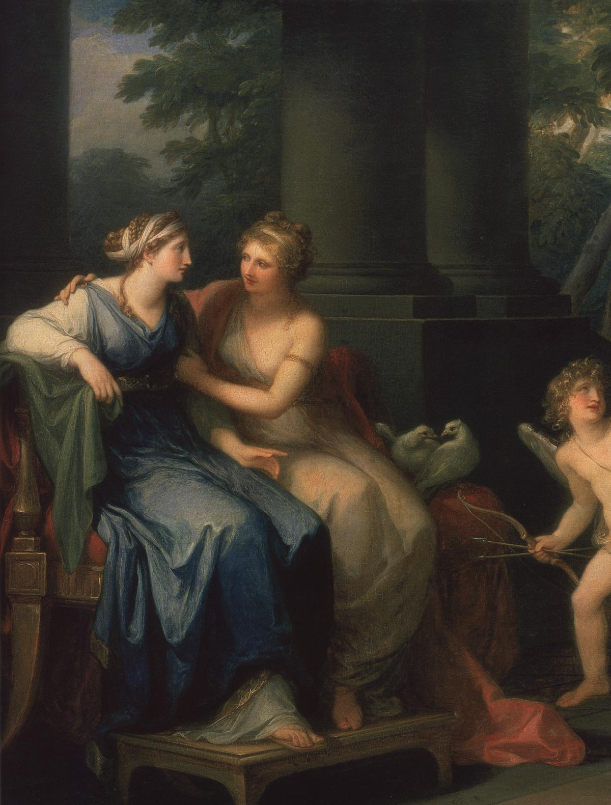 Venus is persuading Helen to love Paris. Fragment. Angelica Kauffmann (1741—1807). Oil on canvas. 102 × 127.5 cm. In the centre, on the plinth of a column, signature and date — Angelica Kauffmann pinx. 1790. Inv. No. ГЭ 5350. Saint Petersburg, The State Hermitage Museum