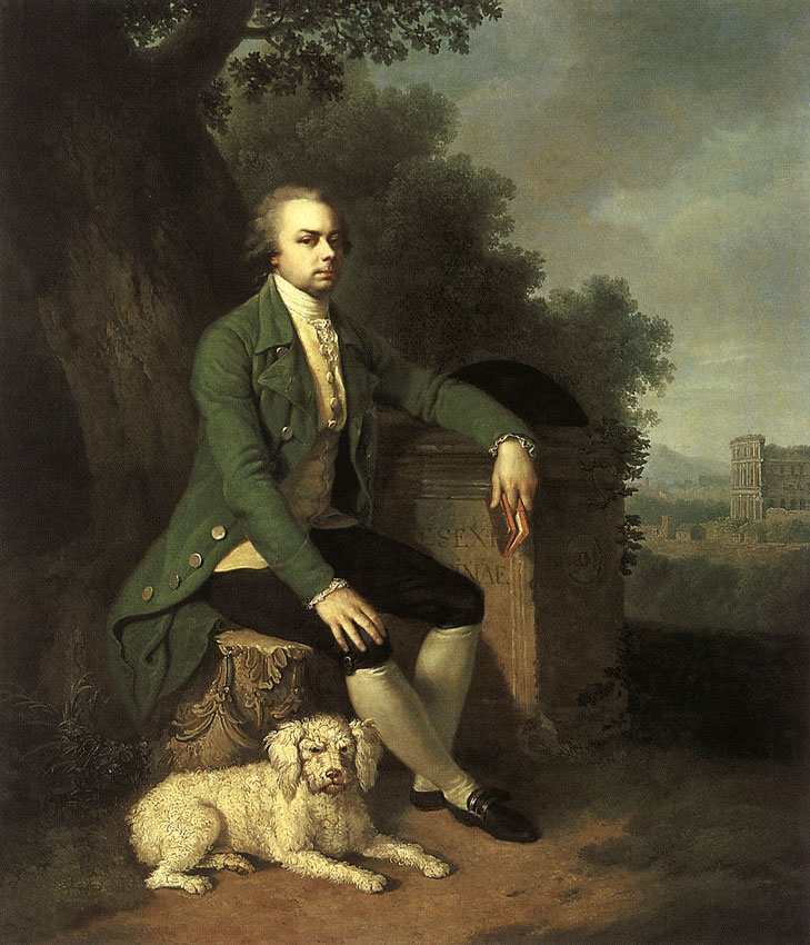 Portrait of prince N. B. Yusupov with his hound. Johann Baptist Lampi I (1751—1830), Jacob Philipp Hackert (1737—1807). Oil on canvas. 61 × 58 cm. Inv. No. ГЭ 5766. Saint Petersburg, The State Hermitage Museum