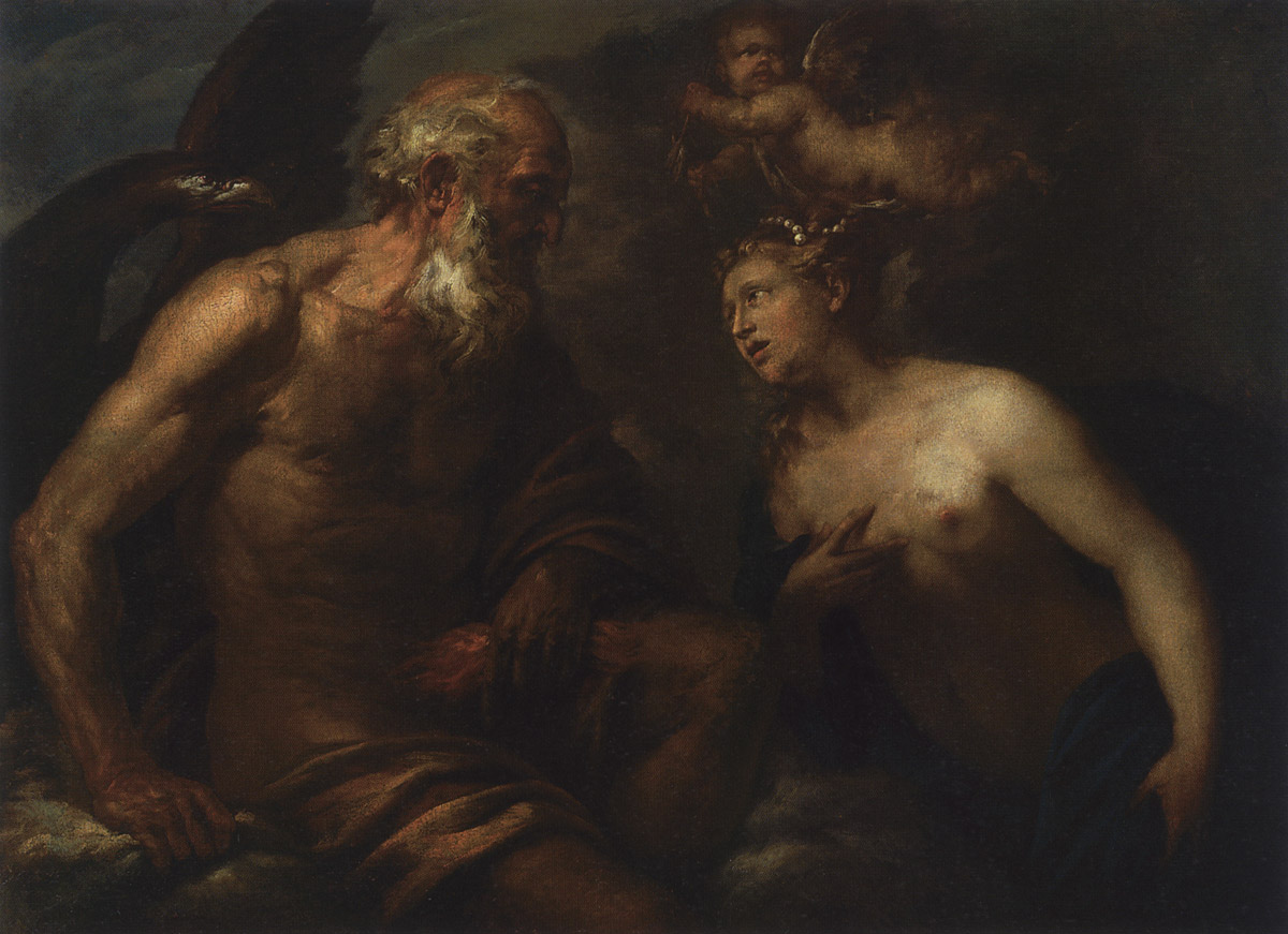 Aphrodite before Zeus. Johann Carl Loth (?) (1632—1698). Oil on canvas. 107 × 142 cm. Inv. No. ГЭ 10117. Saint Petersburg, The State Hermitage Museum
