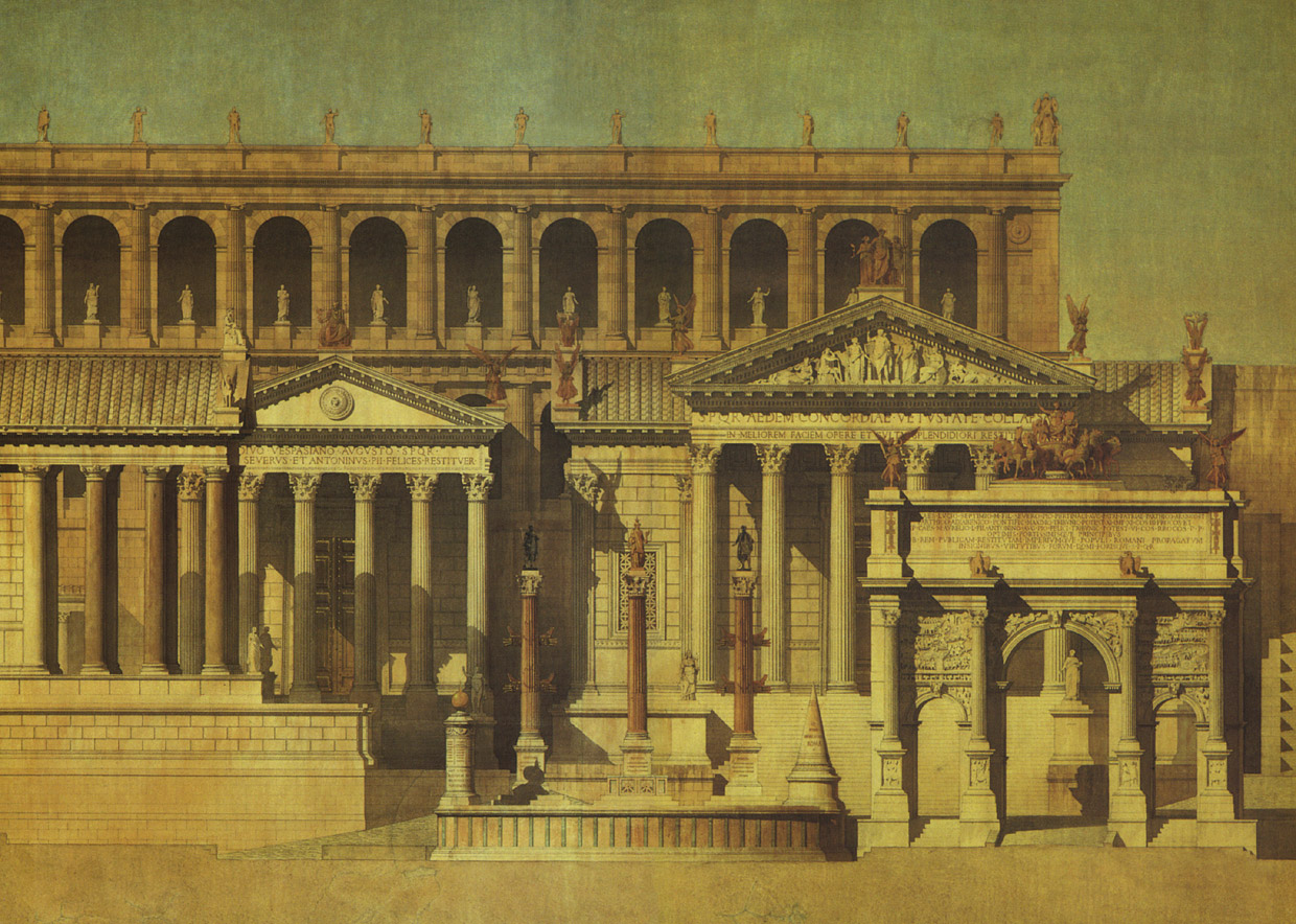 The reconstruction of the Tabularium and of the monumental complex, located at the bottom of the Capitolium. Detail. (The new rostra, Milliarium aureum, the temple of Saturn, the temple of Vespasian and Titus, the arch of Septimius Severus, the Mundus, the temple of Concord, the Tabularium.) Painter: Constant Moyaux. 1866. Indian ink, water-colour. Paris, National Fine Arts High School