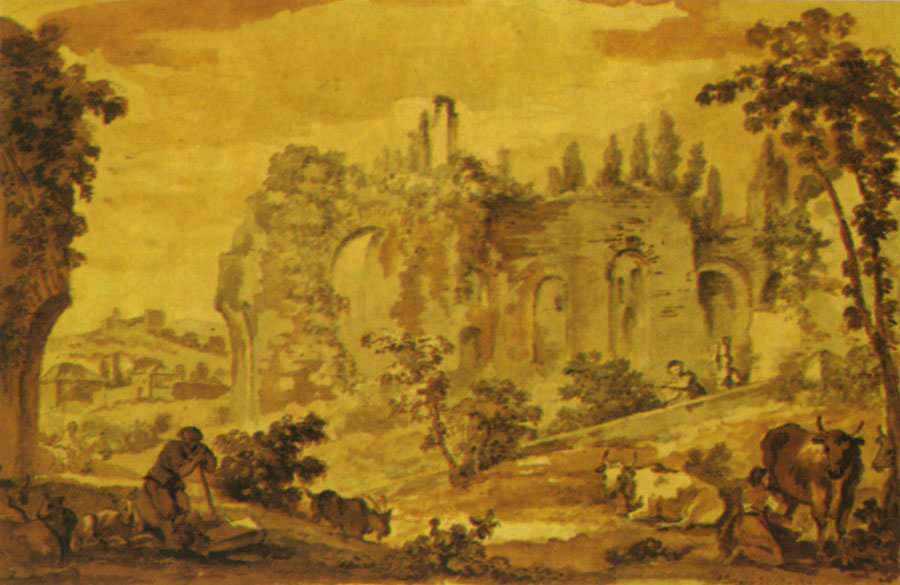 Palatine. Painter: Natoire Charles Joseph (1700—1777). Water-colour. Berlin, State Museums, Picture-gallery