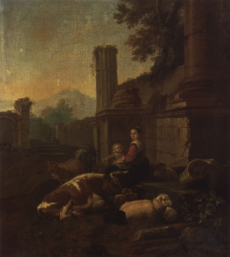 Herd near ruins. Johann Heinrich Roos (1631—1685). Oil on canvas. 56 × 46 cm. The signature and the date on the stone on the right: JH Roos. 1669 Inv. No. ГЭ 3225. Saint Petersburg, The State Hermitage Museum