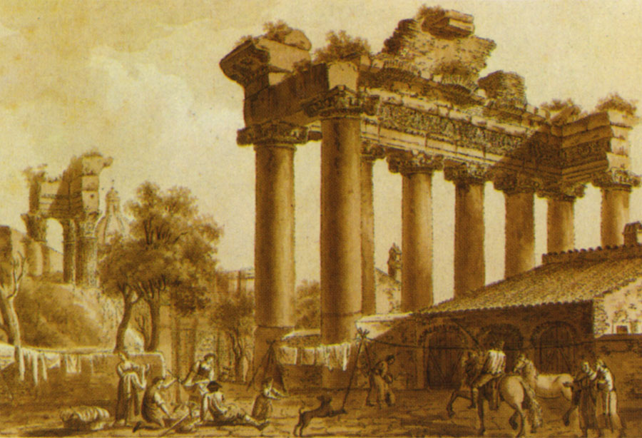 "The temple of Saturn, the temple of Vespasian and Titus. Painter: Ugeri. Picture from the book ""Pictorial days."" 1817. Sepia."