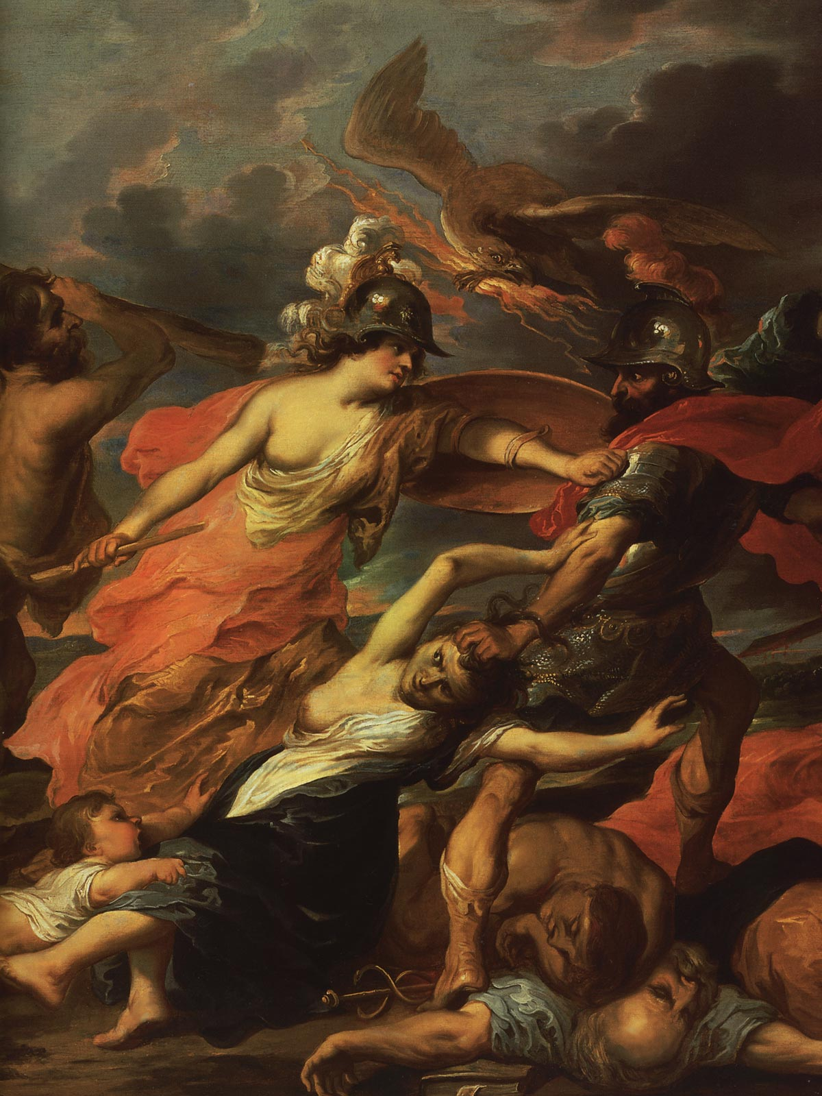 Hercules and Minerva expelling Mars. Fragment. By drawing of P. Rubens. Victor Wolfoet II (1612—1652). Oil on canvas. 67 × 89 cm. Inv. No. ГЭ 8531. Saint Petersburg, The State Hermitage Museum