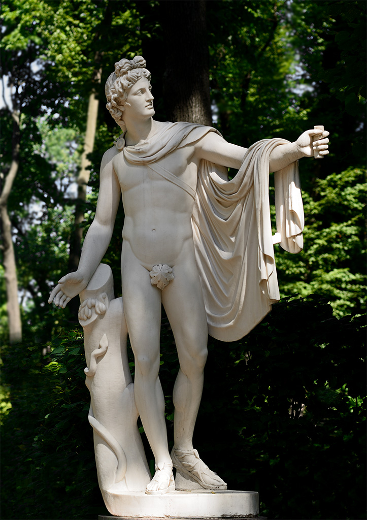 Apollo. Copy of antique statue by Paolo Andrea Triscorni (1757—1833). Marble, 1820s. Restored in 2009. Saint Petersburg, Summer Garden