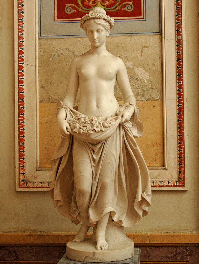 Flora. Pietro Tenerani (1798—1869). Marble. 1840.  The signature behind on a tree trunk: P. TENERANI / FACEVA. IN. ROMA / MDCCCXXXX Inv. No. Н.ск. 253. Saint Petersburg, The State Hermitage Museum
